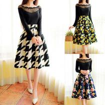 Faldas Vintage Cuadro Flores Cintura Alta Importada Japonesa