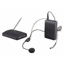Kit Microfone Uhf Auricular Headset Sem Fio Lapela