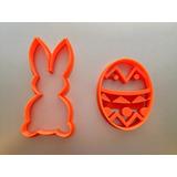 Molde Cortante De Galletitas Huevo De Pascua Y Conejo X2