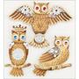 Stickers Tridimensionales Buhos Dorados Owls Jolees