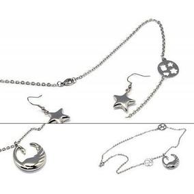 Set De 3 Piezas Collar Y Aretes Diseño Cisne Y Estrellas