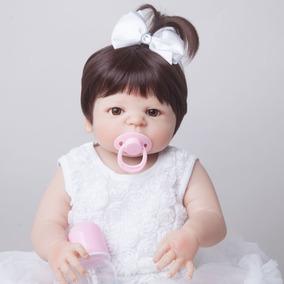 Linda Boneca Bebe Reborn Vick + Urso Pelucia Grátis Silicone