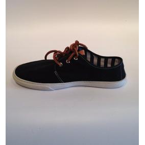 Zapatillas Panchas Negras De Lona Con Cordones De Cuero