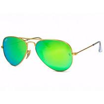 Óculos Sol Ray-ban Aviador Espelhado Verde Rb3025l Original