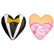 Molde De Silicone Para Biscuit Coração Noivos