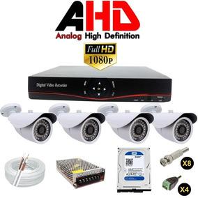 Kit Dvr Ahd 4 Canais 4 Cameras Ahd 1.3 Completo + Hd 160 Gb
