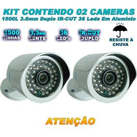 Kit Monitoramento 02 Câmera 1500 Linhas Filtro Ir Cut 50 Mts
