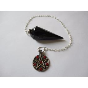 Pendulo De Obsidiana Con Pentagrama Wicca Celta Mawiluz