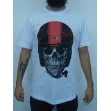 Camiseta Skull With Helmet - Caveira De Capacete Custom