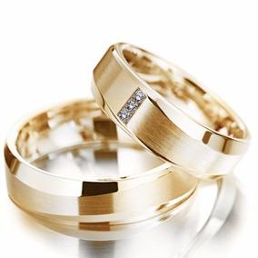 Par Alianças Ouro 18k 6mm 14gr Modelo Anatômica 3 Diamantes