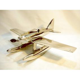Avião Hidroavião Hidroplano Em Alumínio Belíssima Decoração