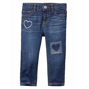 Calça Jeans Gap Skinny C/corações Bordados Infantil Original