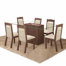 Conjunto Mesa Jantar 6 Cadeiras Choco Canela