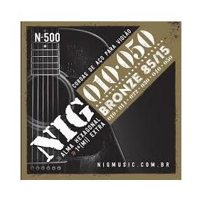Encordoamento Cordas Nig N500 010-050 Bronze Para Violão Aço
