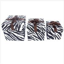 Caixa Presente De Papelão Estampa Zebra 3 Unid. Decoração