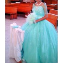 Hermoso Vestido De Xv Años, Color Verde Menta Remato