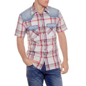 Camisa Wrangler Denver Shirt M/c Pop Indi Rojo Gris Hombre