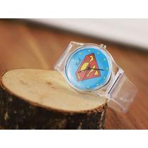 Relógio Superman Unisex Pulseira Transparente - Promoção