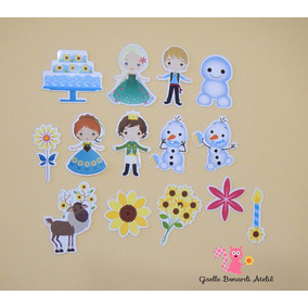 50 Apliques Frozen Fever Cute (3 Cm) Papel Fotográfico