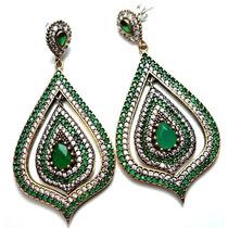 Gao-brincos Turquia Turco Prata 925 Esmeralda Jade Zirconias