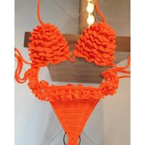 Biquini De Croche Com Babado Moda Verão 2016 Tam P, M E G.