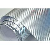 Film Vinilo Fibra Carbono Cromada Silver 3d Tuning Autox M2