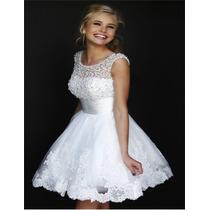 Vestido De Noiva Curto Para Civil , Debutante Lindo + Brinde