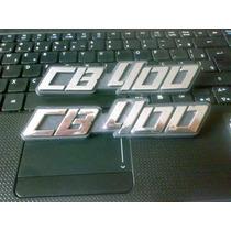 Par Emblema Das Laterais Honda Cb400,cor Prata(pvc Plastico)