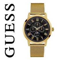 Original Reloj Guess W0871g2 Hombre Dorado Multifuncional In