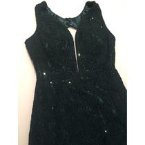 Vestido Longo Luxo Verde Escuro Renda/tule/ Brilho Tam M