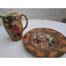 Jarra Y Plato Porcelana Biscuit Inglesa Shakespeare
