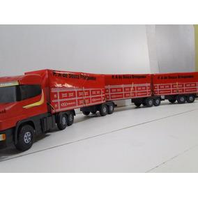 03 Carreta Bi Trem Madeira Brinquedo Caminhão Scania C/ Lona