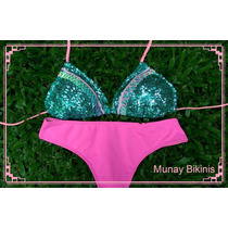 Bikini Corpiño Con Lentejuelas Y Culotte Less
