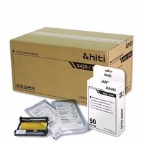 Papel / Ribbon Impressora S420 Hiti Caixa 6 Kit Frete Gratis