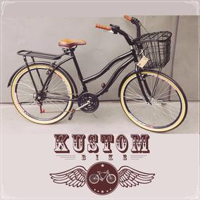 Bicicleta Vintage Feminina - Cestinha E Bagageiro 18 Marchas