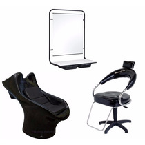 Kit P/ Salão De Beleza Poltrona+lavatório+console C Espelho