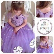 Vestido De Tul Con Tejido Crochet Princesita Sofia