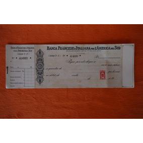Raro Cheque Padrão Réis Banco Francese Italiana América Sul