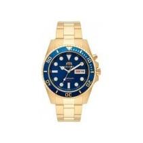 Relógio Orient Automatico Dourado Mostr.azul 469gp063+frete