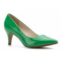 Zapatos Zapatillas Andrea Verdes De Charol Tacón Bajito