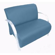 Poltrona Dupla Cadeira Dois Lugares Suede Recepção Azul
