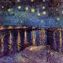 Tela Impressa Van Gogh Noite Estrelada Ródano Grande Sala