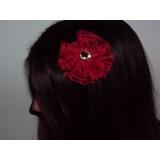 Flor De Renda Vermelha Arranjo Para Cabelo Casamento Daminha