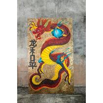 Cuadro Dragon Hecho De Lienzo Pintado Con Oleo.