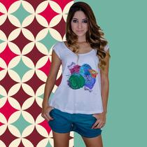 Camiseta Feminina Blusinha Blusa Bata Básica Máquina Foto