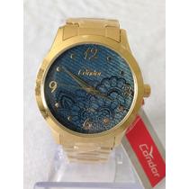 Relógio Dourado Feminino Original Grandes Marcas