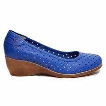Zapato Mujer Taco Chino, Calado Cuero Azul, Marta Sixto