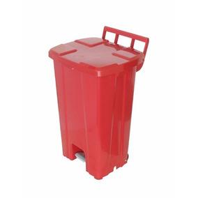 Lixeira Vermelha 100 Litros Com Pedal E Rodas