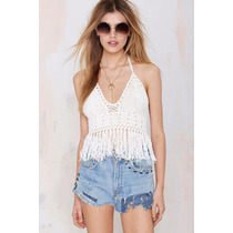 Top Cropped Croche Lindo Franjas Pronta Entrega