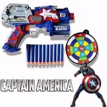 Arma Pistola Capitão América Lançador 10 Dardo Vingadores